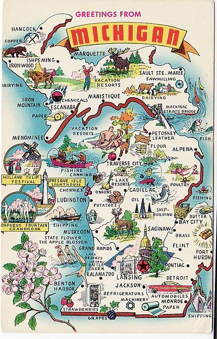greetings from michigan map postcard illustrated with scenic highlights and state symbols c