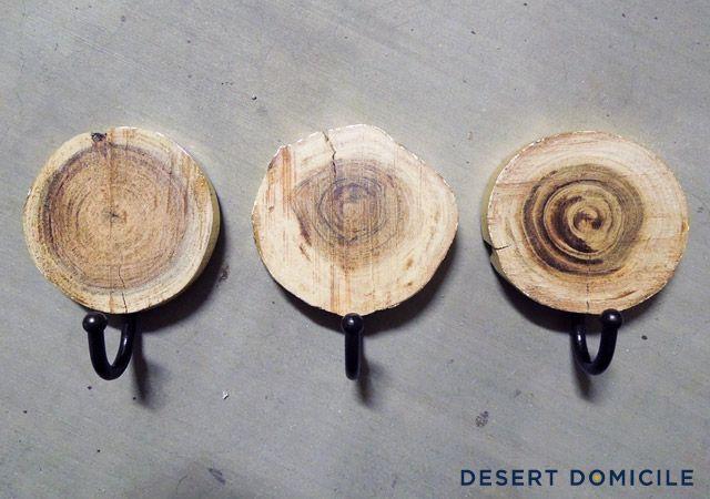 DIY Gold Leaf Wood Slice Coat Hangers | Desert Domicile