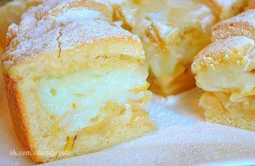 http://ok.ru/group/52413016309846  ВКУСНЕЙШИЙ Яблочный пирог с НЕЖНЕЙШИМ заварным кремом  Тесто:      1 яйцо     2 ст. ложки сметаны     180 гр. сливочное масло     150 гр. сахар     0,5 ч. ложки разрыхлителя     щепотка соли     360 гр. мука  Крем:      350 мл молока     1 яйцо     2 ст. ложка крахмала     4 ст. ложки сахара     1/3 ч. ложки ванилина     а так же 2 крупных яблока, сахарная пудра для присыпки.        Для теста в глубокую миску просейте муку, добавьте соль и разрыхлитель…