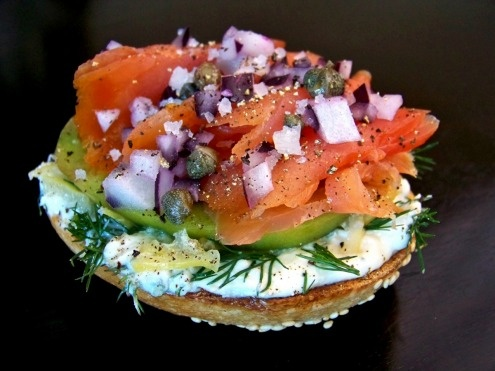 Classic Smoked Salmon on a Toasted Bagel...I would eat this for breakfast Every single day if i could...