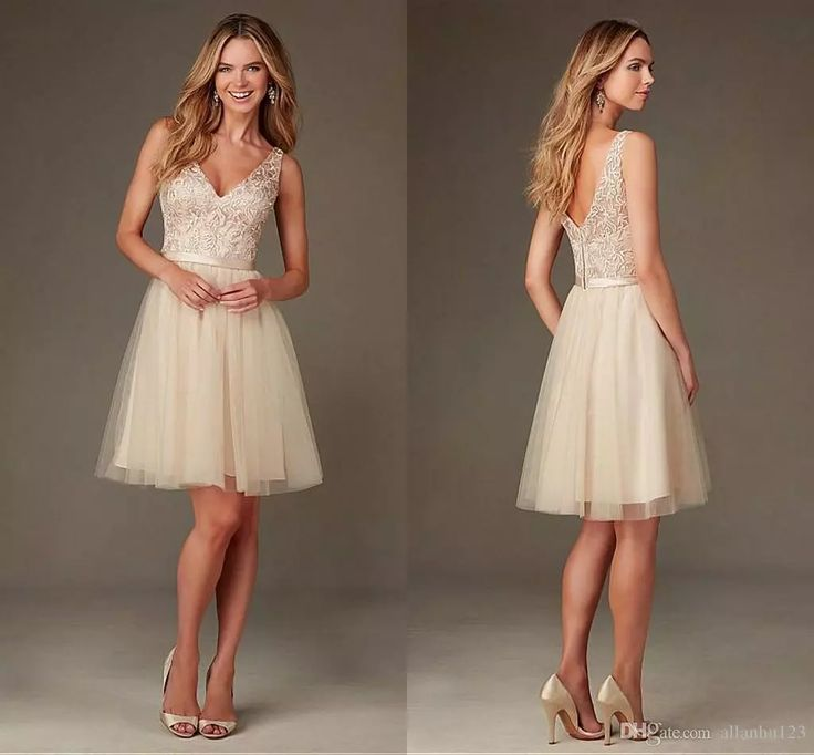2016 Cheap Champagne Short Country Bridesmaid Dresses V Neck Lace Appliques Elegant Summer Beach Mini Backless Formal Wedding Party Dresses Non Traditional Bridesmaid Dresses Print Bridesmaid Dresses From Allanhu123, $111.81  Dhgate.Com