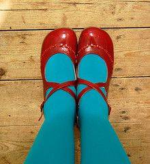 red and turquoise #red_shoes