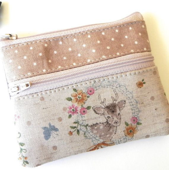 Sweet deer and dotty handmade double zipper pouch by missymaomao what a pretty and versatile find - so many uses, and just gorgeous!