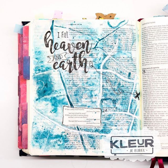 DAY 30 | I fill heaven and earth   The last page I made for the sweetest @elshartog with her #biblejournalingchallengethuis  ___________________ #art #ikmetliefde #finished #aquarelle #aquarel #watercolor #watercolour #windsorandnewton #acrylics #gelatos #biblejournaling #biblejournalingnl #biblejournalingnederland #bibleart #kleurjebijbel #craftbijbel #illustratedfaith #biblejournalingchallengethuis #sestraforyou