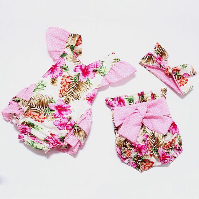 2016 Novo estilo baby girl verão romper boutiques meninas do bebê floral do vintage irritar romper calções de pano com arco nó cabeça
