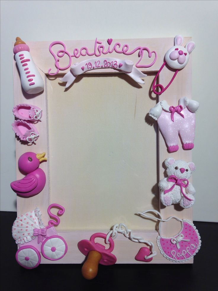 Pink Baby Born Frame - fimo decorated