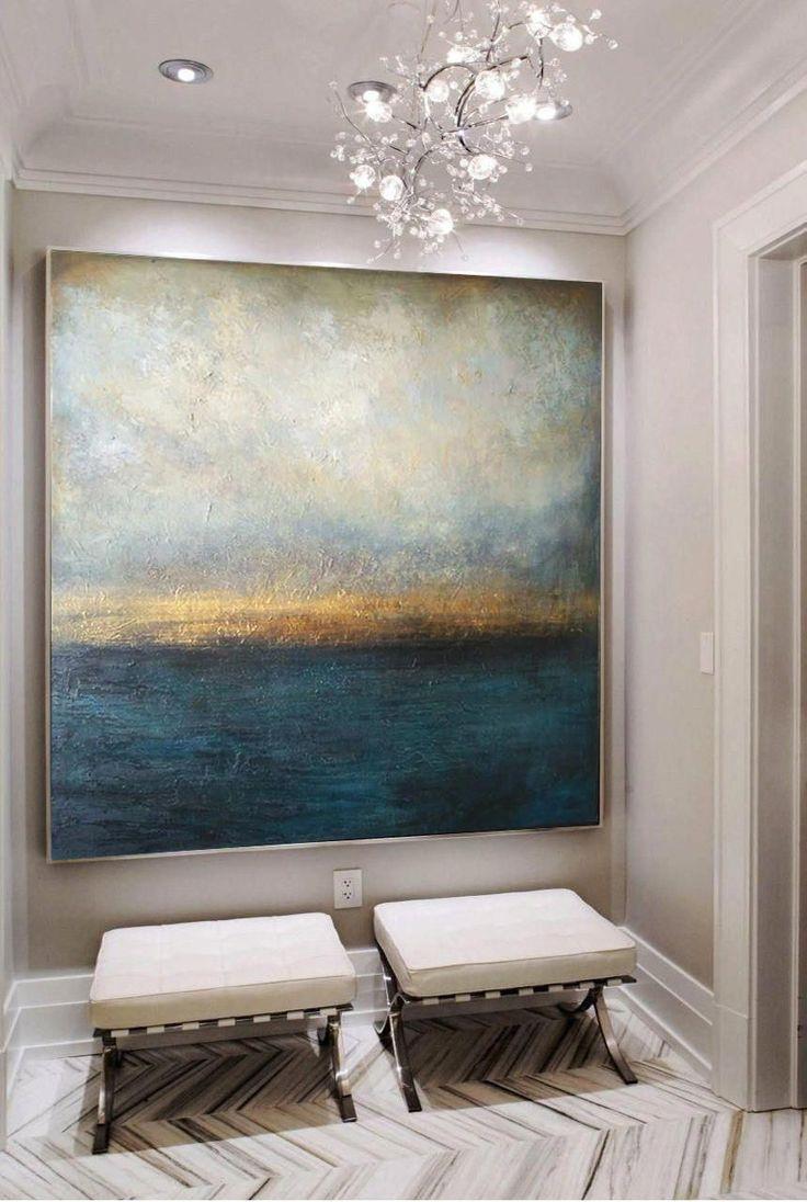 Große Ölgemälde Original Leinwand Blau Abstrakte Malerei Grau Malerei  Sonnenuntergang Malerei Zeitgenössische Kunst Abstrakte Wohnzimmer Wandkunst