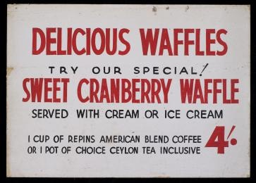 2007/106/6 Sign, Delicious Waffles, chipboard, used by Repins Coffee Inn, Sydney, New South Wales, Australia, 1933-1966, maker unknown, [1933-1966] - Powerhouse Museum Collection