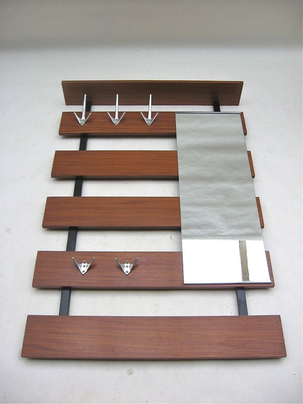 Architectural Teak Wall Mount Coat Rack Mirror Danish