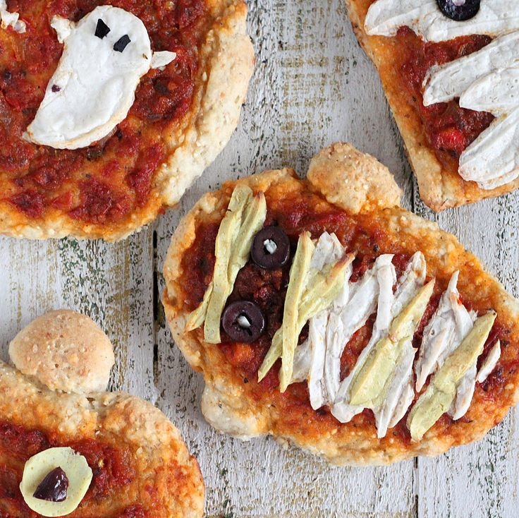 halloween pizzas ghosts pumpkins and mummies with coconut milk mozzarella cheddar sundried tomato marinara on sesame barley crust vegan recipe - Scary Dishes For Halloween