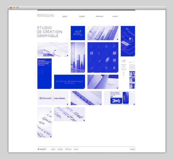 Pentagon Studio Website | Blue Filter Motif & Assorted Tile Layout