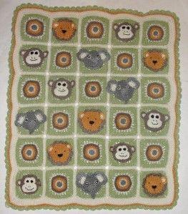 Animal Safari Crochet Afghan Blanket Pattern