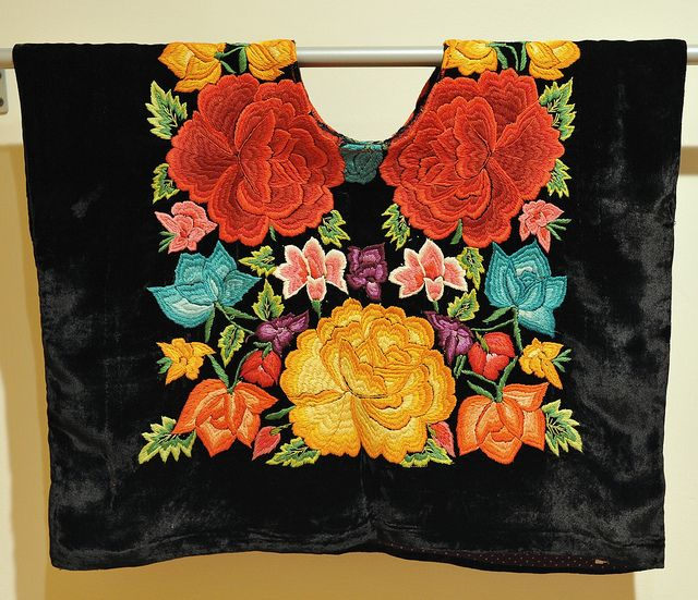 """Zapotec Huipil Oaxaca    A classic """"large flower"""" embroidered huipil from Tehuantepec, a city in the Isthmus region of the state of Oaxaca Mexico. Part of an exhibition of Oaxacan textiles at the Mexican Cultural Institute in Washington, DC"""