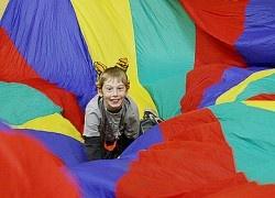 kids yoga parachute games