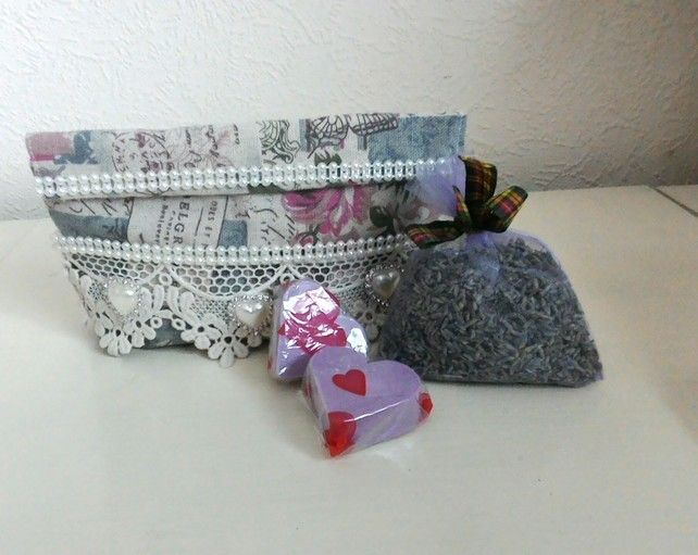 Heart Lavender Soaps, Fabric Gift Bag, Lavender Buds In Bags, Gifts For Her £6.95