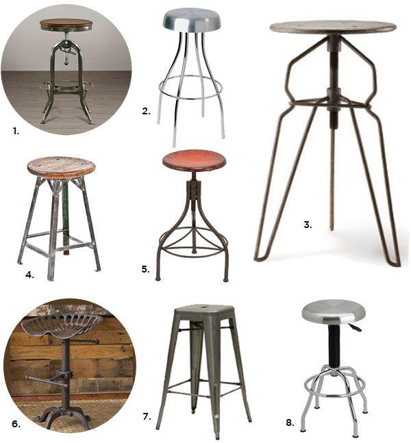 Industrial Bar Stools u2014 Industrial Kitchen Stools u2014 Eat Well 101  sc 1 st  Pinterest & 75 best Stools images on Pinterest | Kitchen ideas Counter stools ... islam-shia.org