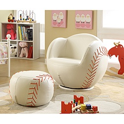 @Overstock.com - Add a touch of fun and comfort to your child's room with this coordinating chair and ottoman set. Sized perfectly for children, this baseball shaped chair has a super soft faux leather fabric and a thick padded cushion.http://www.overstock.com/Home-Garden/Youth-Baseball-Chair-and-Ottoman/6632722/product.html?CID=214117 $165.99