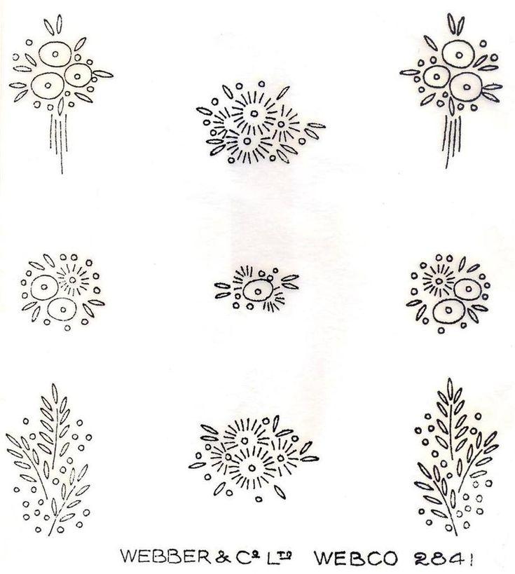 1930's Art Deco Flower Sprig Designs Vintage Iron on Embroidery Transfer 152   eBay