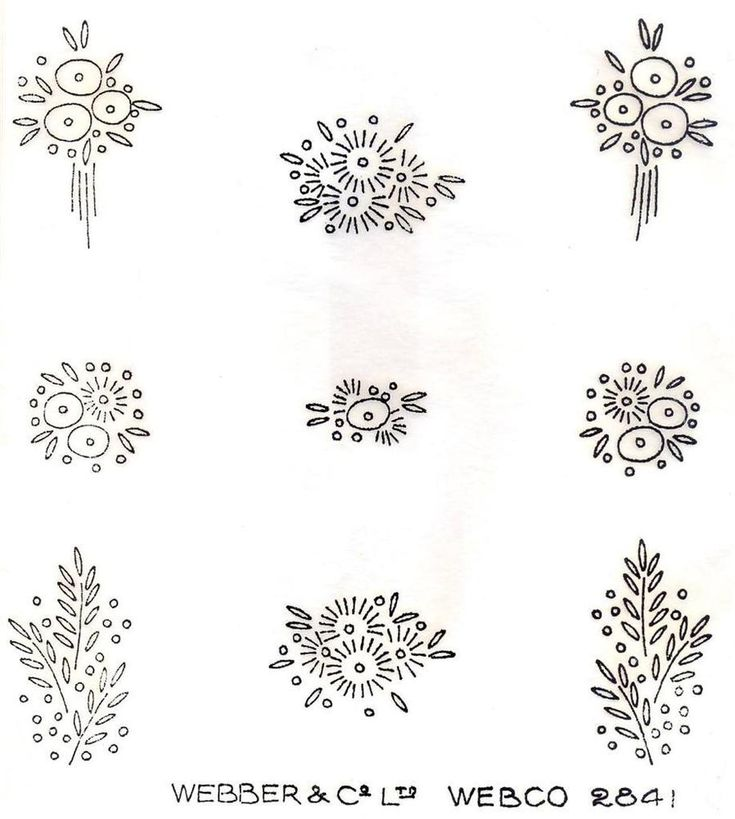 1930's Art Deco Flower Sprig Designs Vintage Iron on Embroidery Transfer 152 | eBay