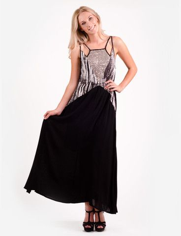Vulcan maxi dress from www.belleroad.co.nz Monochrome and metallic Sass and Bide styled sequin maxi dress