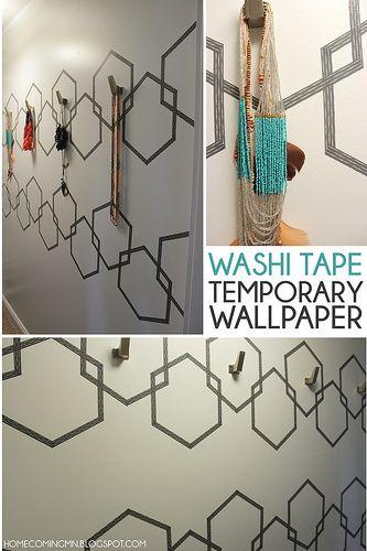 Washi Tape Temporary Wallpaper- I wonder if it peels off paint?