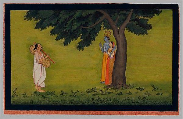 """The Poet and Author Jayadeva Visualizes Radha and Krishna,"" Folio from the ""Second"" or ""Tehri Garhwal"" Gita Govinda (Song of God)"