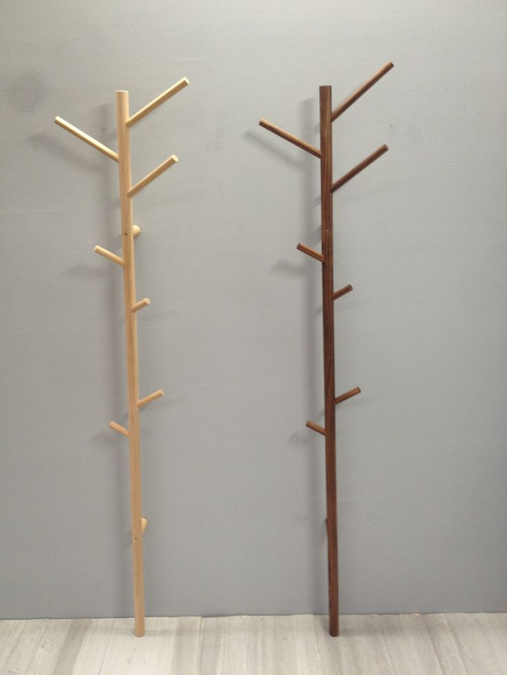 Wall mounted sticky coatrack ,elegant and space saving available in american oak and walnut by chris colwell design