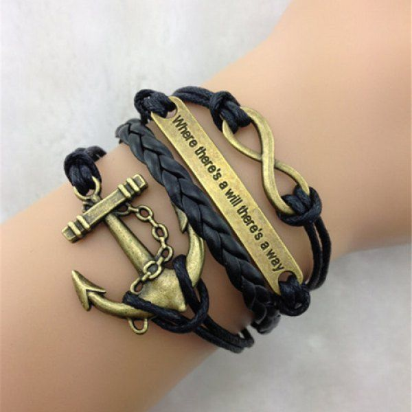 Simple Anchor Embellished Multilayered Woven Wrap Bracelet For Men and Women, BLACK in Bracelets | DressLily.com