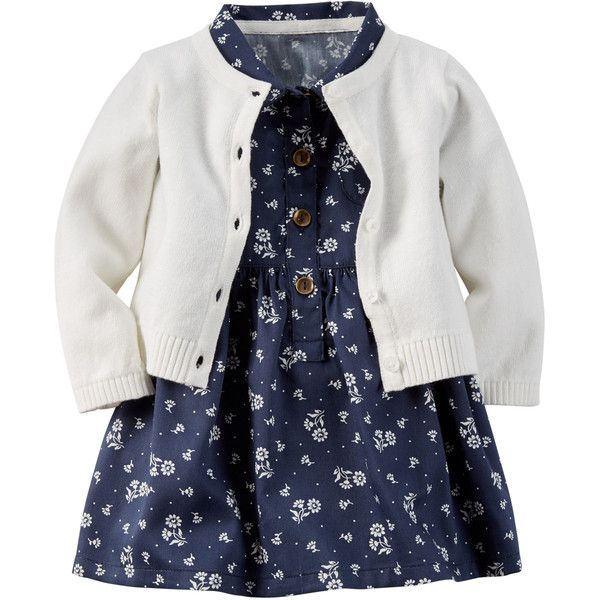 2-Piece Sateen Shirt Dress Sweater Set (30 CAD) ❤ liked on Polyvore featuring baby girl