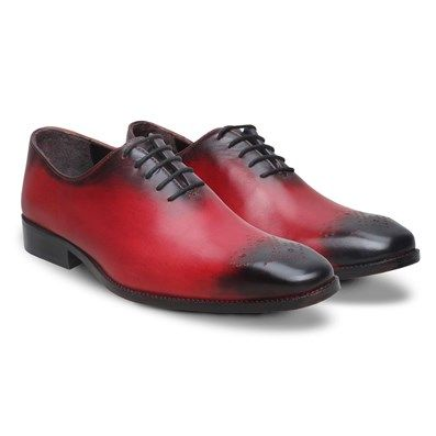 Buy Red Leather Hand Burnished #FormalShoes By Brune Online at Best Low Price @ #voganow