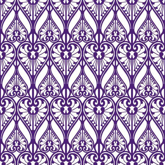 Purple hearts pattern inspired by Art Nouveau jewelry design.