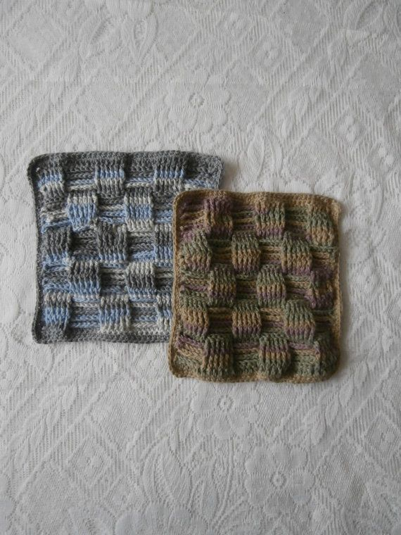 2 Eco-friendly Potholders Recycled Cotton by StrangelyMagical