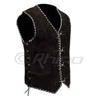 Suede Vest with Metal Clasps and Blue and White Braiding