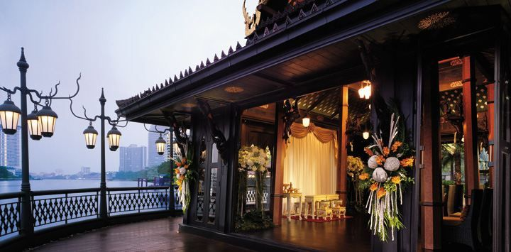 The wedding ceremony by the river at Shangri-La Hotel, Bangkok.