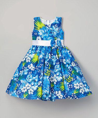 Blue Floral A-Line Dress - Tween