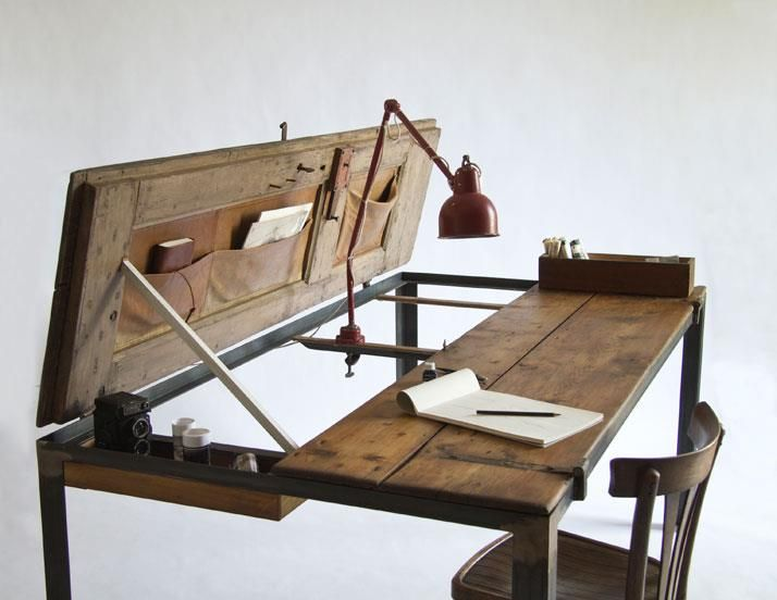 Amazing, clever desk pieced together from found items: Writing Desks, Doors Desks, Doors Tables, Wood Tables, Work Desks, Wooden Doors, Old Doors, Dining Tables, Vintage Doors
