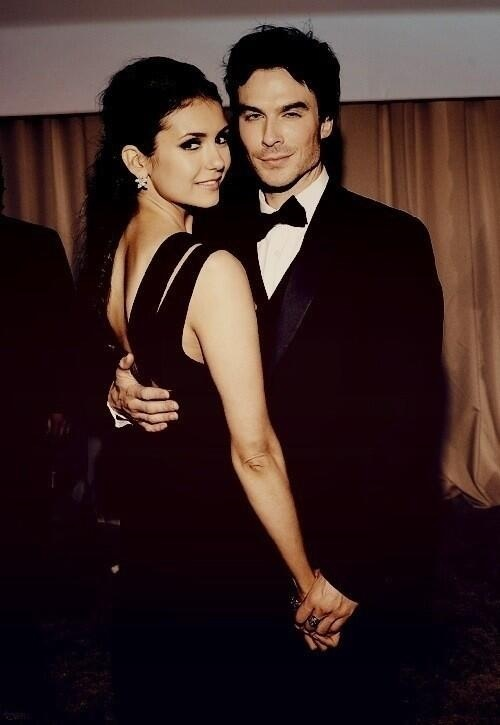Nina Dobrev and Ian Somerhalder the cutest couple on The Vampire Diaries and in real life<3 I cant believe they broke up:(