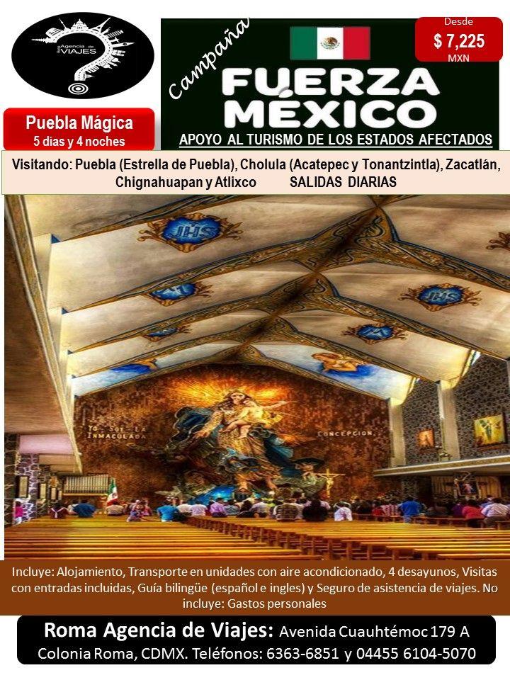 Puebla Mágica   Llámanos al 6363-6851 escríbenos al correo: buzon@romaagenciadeviajes.com o Visitamos en: Avenida Cuauhtemoc 179 A Colonia Roma CDMX de Lunes a Viernes de 10 am a 19 hrs y sábados y domingos de 11 hrs a 15 hrs (Cerramos puentes y días festivos) También puedes visitar la pagina web: www.romaagenciadeviajes.com donde pulsando el botón de BOLETOS podrás reservar en linea las 24 hrs del día Boletos Aéreos, Hoteles y Paquetes y aprovechar los meses sin intereses con las tarjetas