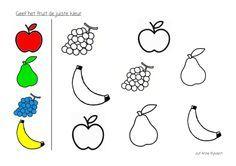 Kleur het fruit in de juiste kleur