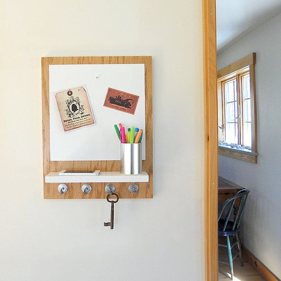 Wooden Message Center With Magnetic White Board Shelf And