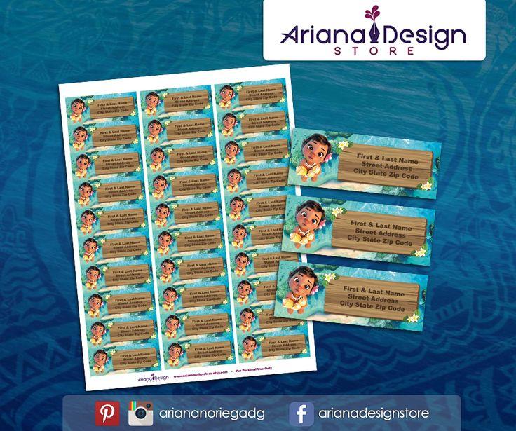 #etiquetas #etiquetasparadirecciones #moana #arianadesignstore #babymoana #moanaparty #moanaprintable #addresslabel #label #mail #stickers #letter