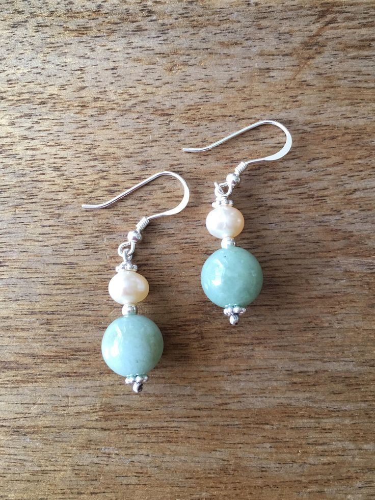 Jade Earrings - Green Jade Bead and Genuine Cultured Pearl 925 Sterling Silver Earrings by RitaCollection on Etsy