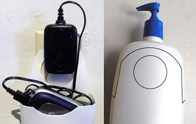 Make your own charging station with a lotion bottle!Ideas, Phones Holders, Cell Phones, Old Bottle, Lotions Bottle, Diy, Crafts, Phones Charging, Charging Stations