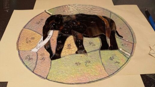 I like to show you a bit of the process, commission piece of an elephant designed from a photograph submitted.
