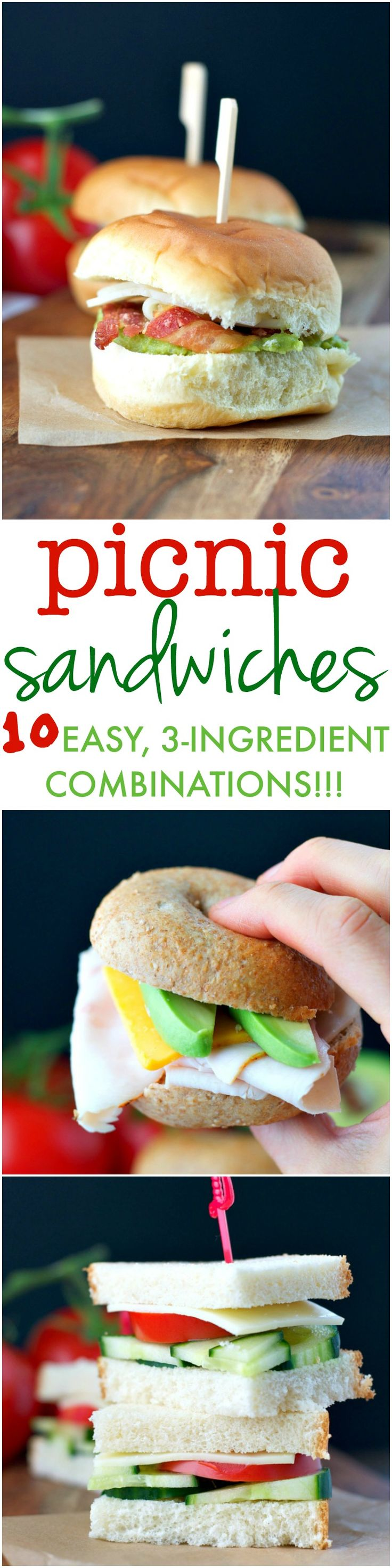 Hiking through the woods, hosting a backyard party, traveling on a road trip, or enjoying a sunny beach day...here are 10 Easy, 3-Ingredient Sandwich Combinations that are sure to please everyone in your crowd! #ad