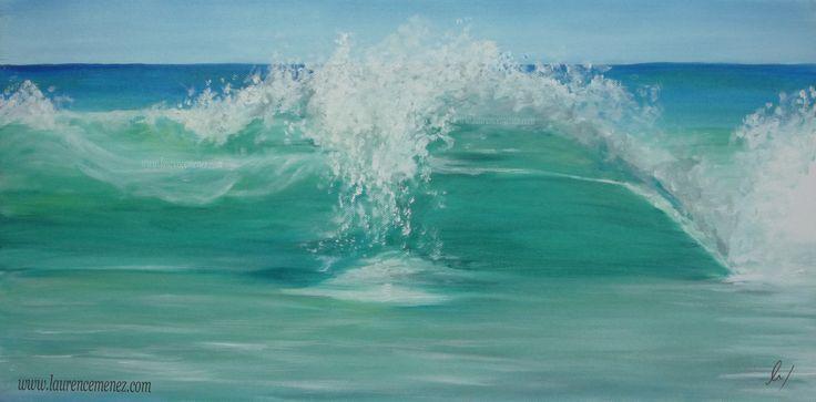 """Vague claire"" toile peinte , thème marin"