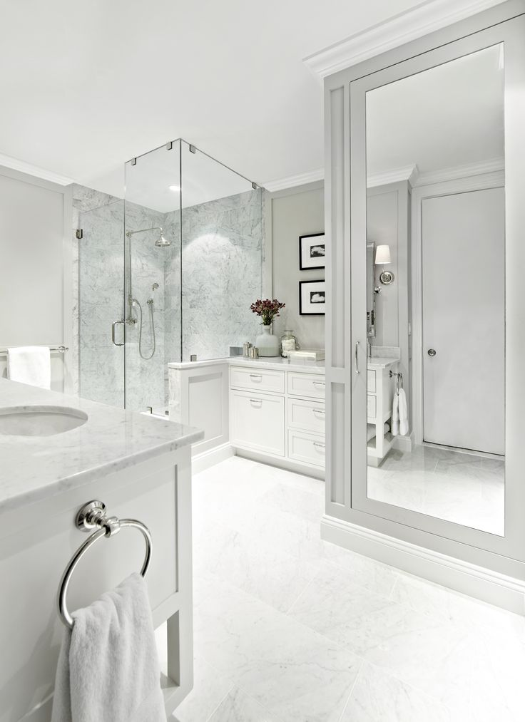 West Village Waterfront || White Marble || Chango & Co.  Featured in Architectural Digest: http://www.architecturaldigest.com/story/before-after-bathroom-makeover-design-tips