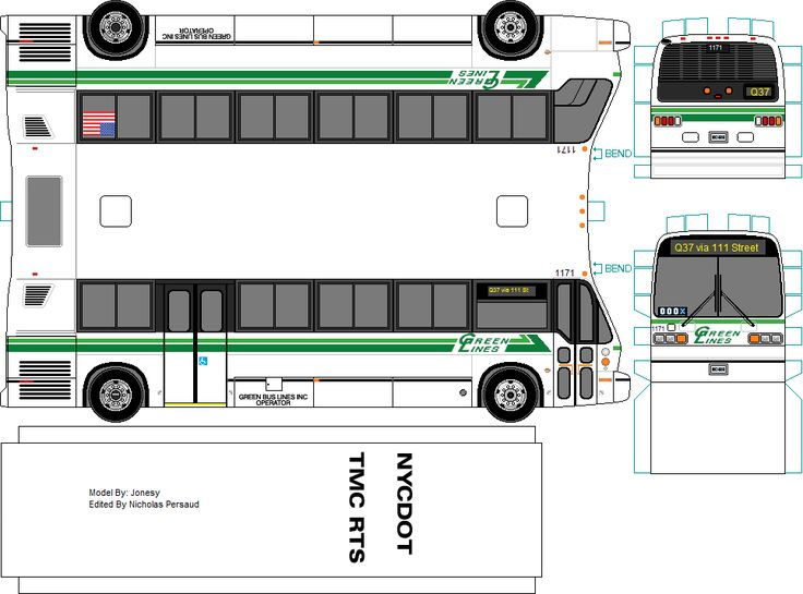Green Lines paper model bus by Jonesy. DIY paper craft