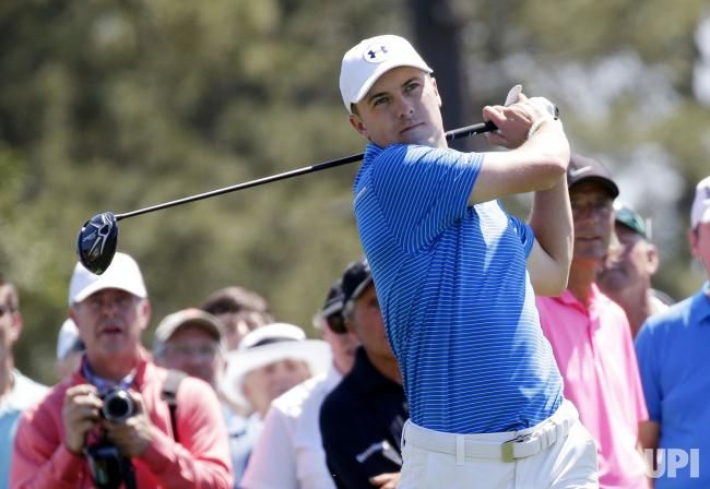 Jordan Spieth hits a tee shot while playing a practice round at the 2017 Masters Tournament at Augusta National Golf Club in Augusta,…