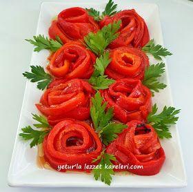 yetur'la lezzet kareleri: gül şeklinde biber salata